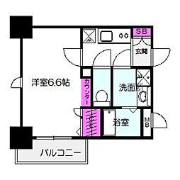 アドバンス大阪城北ルミウス 6階1Kの間取り