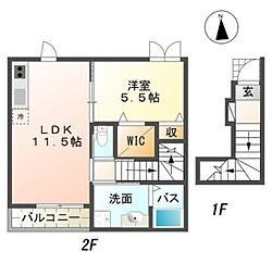 南海高野線 狭山駅 徒歩7分の賃貸アパート 2階1LDKの間取り