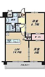 大阪府大阪市城東区古市3丁目の賃貸マンションの間取り
