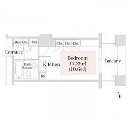 ラ・トゥール神楽坂 5階ワンルームの間取り