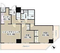 JR山手線 目黒駅 徒歩8分の賃貸マンション 13階2LDKの間取り