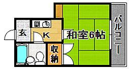 阪急京都本線 上新庄駅 徒歩26分の賃貸マンション 1階1Kの間取り