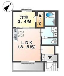 近鉄大阪線 久宝寺口駅 徒歩7分の賃貸アパート 1階1LDKの間取り