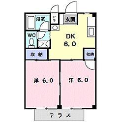 愛知県田原市田原町北番場の賃貸アパートの間取り