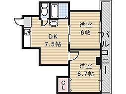 大阪府大阪市阿倍野区阪南町7丁目の賃貸マンションの間取り