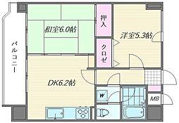 ライオンズマンション箱崎宮前[602号室]の間取り
