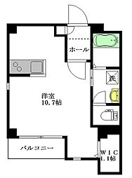 Flora Yotsuya 2階ワンルームの間取り