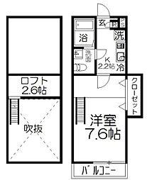 JR京浜東北・根岸線 大宮駅 徒歩25分の賃貸アパート 2階1Kの間取り