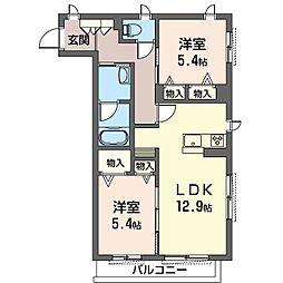 旭区中白根2丁目シャーメゾン (仮) 2階2LDKの間取り