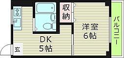 コンフォート梅咲 3階1DKの間取り