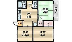 大阪府堺市西区鳳東町6丁の賃貸アパートの間取り