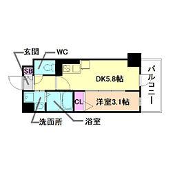 Osaka Metro長堀鶴見緑地線 西長堀駅 徒歩3分の賃貸マンション 3階1DKの間取り
