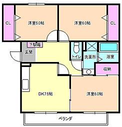 パークビュー藤阪[3階]の間取り