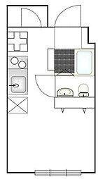 たすきCRASSO中目黒 4階ワンルームの間取り