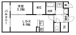 ラ・ピスタ 1階1LDKの間取り