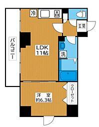 リベール西片 9階1LDKの間取り