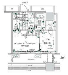 ローレルタワー ルネ浜松町 4階1LDKの間取り