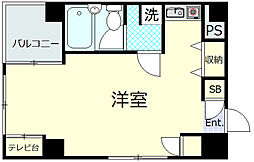 富美第一ビル 3階ワンルームの間取り
