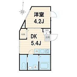 サンライズ 2階1DKの間取り