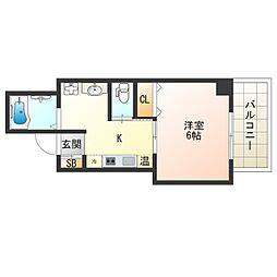 京阪電鉄中之島線 中之島駅 徒歩7分の賃貸マンション 1階1Kの間取り