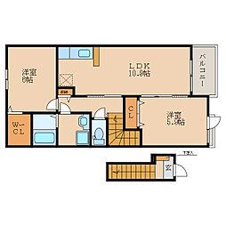 滋賀県近江八幡市西元町の賃貸アパートの間取り