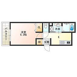 阪神なんば線 千鳥橋駅 徒歩13分の賃貸アパート 1階1Kの間取り
