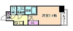 S-RESIDENCE福島Grande 2階1Kの間取り