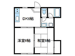 神奈川県厚木市山際の賃貸アパートの間取り