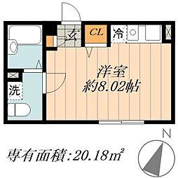 JR常磐線 北千住駅 徒歩10分の賃貸マンション 1階ワンルームの間取り