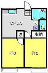 神奈川県横浜市磯子区岡村6丁目の賃貸アパートの間取り