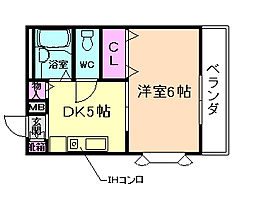 兵庫県川西市矢問2丁目の賃貸アパートの間取り