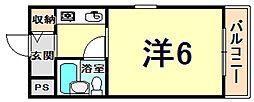 ダイドーメゾン甲子園2 2階ワンルームの間取り