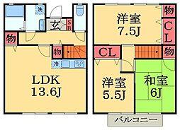 [テラスハウス] 千葉県千葉市中央区白旗3丁目 の賃貸【/】の間取り