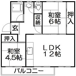 中宮第4住宅[5階]の間取り