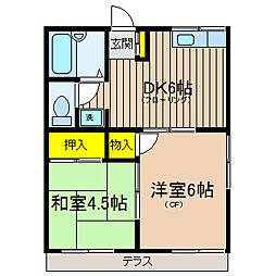 神奈川県横浜市保土ケ谷区権太坂1丁目の賃貸アパートの間取り