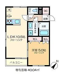 仮称)細田4丁目メゾン 1階1LDKの間取り