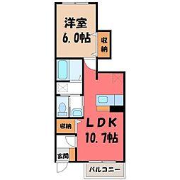 栃木県下都賀郡壬生町本丸1の賃貸アパートの間取り