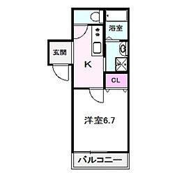 フジパレス今福西I番館 1階1Kの間取り