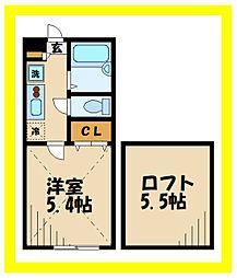 AZEST-RENT中野島2 2階1Kの間取り