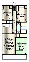 神奈川県厚木市松枝1丁目の賃貸マンションの間取り