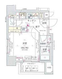 コンシェリア新宿North-One 12階1Kの間取り
