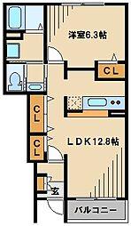 レジデンスSK・I 1階1LDKの間取り