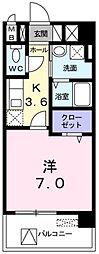 JR八高線 箱根ヶ崎駅 徒歩2分の賃貸マンション 2階1Kの間取り