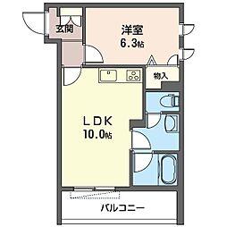仮)世田谷区上祖師谷1丁目シャーメゾン 2階1LDKの間取り