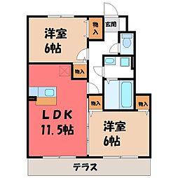 栃木県栃木市川原田町の賃貸アパートの間取り