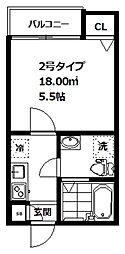 インベスト大崎6 1階1Kの間取り