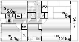 ウイング神戸[4階]の間取り