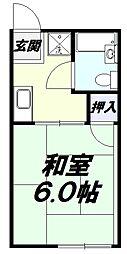 JR南武線 西国立駅 徒歩8分の賃貸アパート 1階1Kの間取り