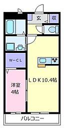 大阪府松原市高見の里4の賃貸アパートの間取り