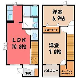 茨城県筑西市菅谷の賃貸アパートの間取り
